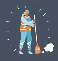 City street female sweeper vector