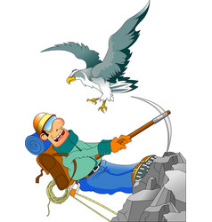 Climber and eagle vector