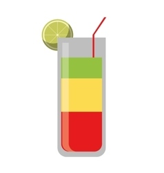 Cocktail glass cup party lemon straw vector