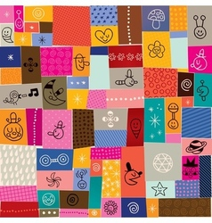 Collage doodle pattern vector