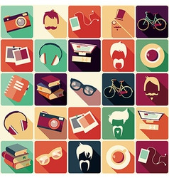 collection retro hipster elements vector image