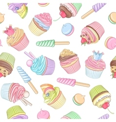 Colorful cupcake lollipop marshmallow seamless vector