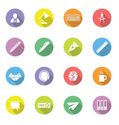 Colorful flat icon set 8 on circle with long shado vector