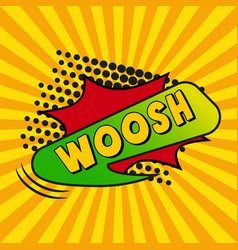 Comic zoom inscription woosh on a colored vector