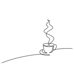 continuous line drawing of cup of coffee vector image