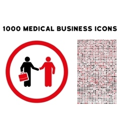 Contract Meeting Rounded Icon With Medical Bonus vector
