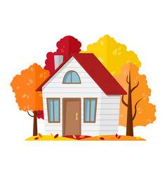 Country house in the autumn forest vector