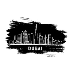 Dubai Skyline Silhouette Hand Drawn Sketch vector image