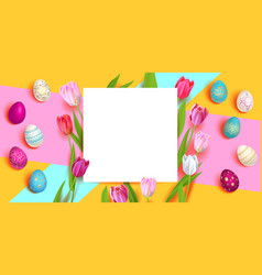 easter eggs and tulips vector image