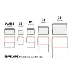 envelope diecut template size a4 a5 a10 envelop vector image