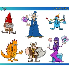 Fantasy characters cartoon set vector