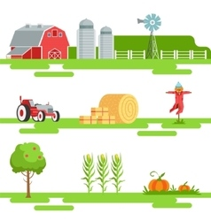 Farm related elements in geometric style set of vector