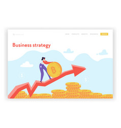 financial growth strategy landing page template vector image