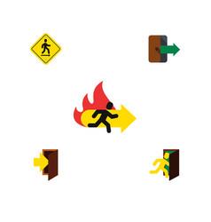 flat icon door set of open door directional fire vector image