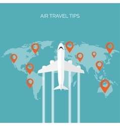 Flat travel background Plane Summer holidays vector