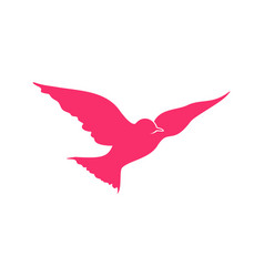 flying pink bird open wings symbol design vector image