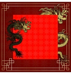 Frame red dragon gold-colored sticker 5 vector