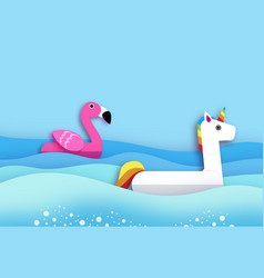 Giant inflatable fantasy unisorn and pink flamingo vector