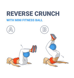 Girl doing reverse crunch with fit or medicine vector