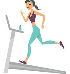 Girl running on the treadmill vector