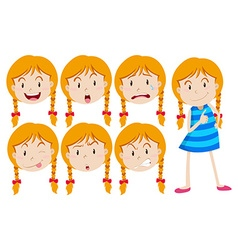 Girl with blond hair with many facial expressions vector