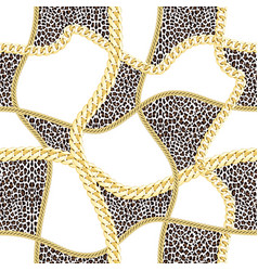 golden chains seamless pattern on leopard vector image
