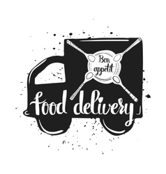 Hand drawn typography poster home food delivery vector