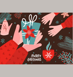hands holding christmas gift box with as a present vector image