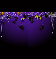 happy halloween design flags garlands and spider vector image