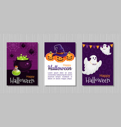 happy halloween flat greeting cards vector image