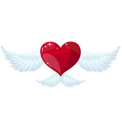 Heart with wings flat style vector