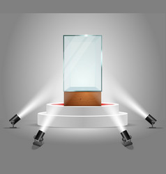 Illuminated podium with empty glass vector