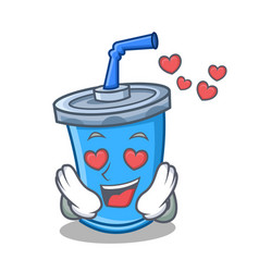 in love soda drink character cartoon vector image