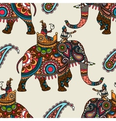 Indian maharadjah on elephant seamless background vector