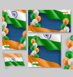Indian patriotic festive posters set vector