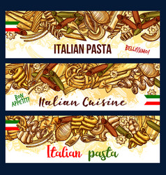 Italian pasta sketch banners with pastry products vector