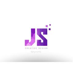 Js j s pink alphabet letter logo combination vector