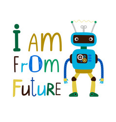 Kids t-shirt design with robot vector