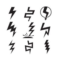 lightnings icons set isolated on white background vector image