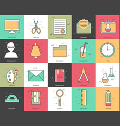 line icons set of office collection concept vector image