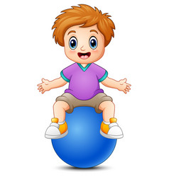 Little boy sitting on blue ball vector
