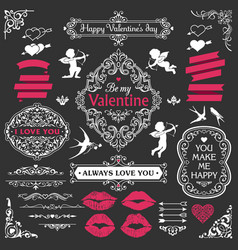 love vintage decorative design elements set vector image