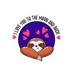 Lovely cartoon sloth logo vector