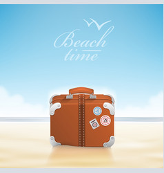 luggage with traveling stickers at sunny beach vector image