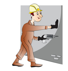 man drilling the wall vector image