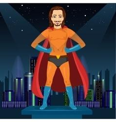 Man in superhero costume watching over night city vector
