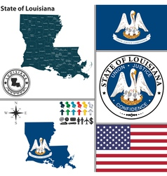 map louisiana with seal vector image