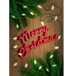 Merry Christmas Fir-tree branch with a bright vector image