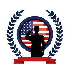 military man silhouette with emblem flag vector image
