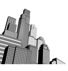 Monochrome city skyscrapers vector